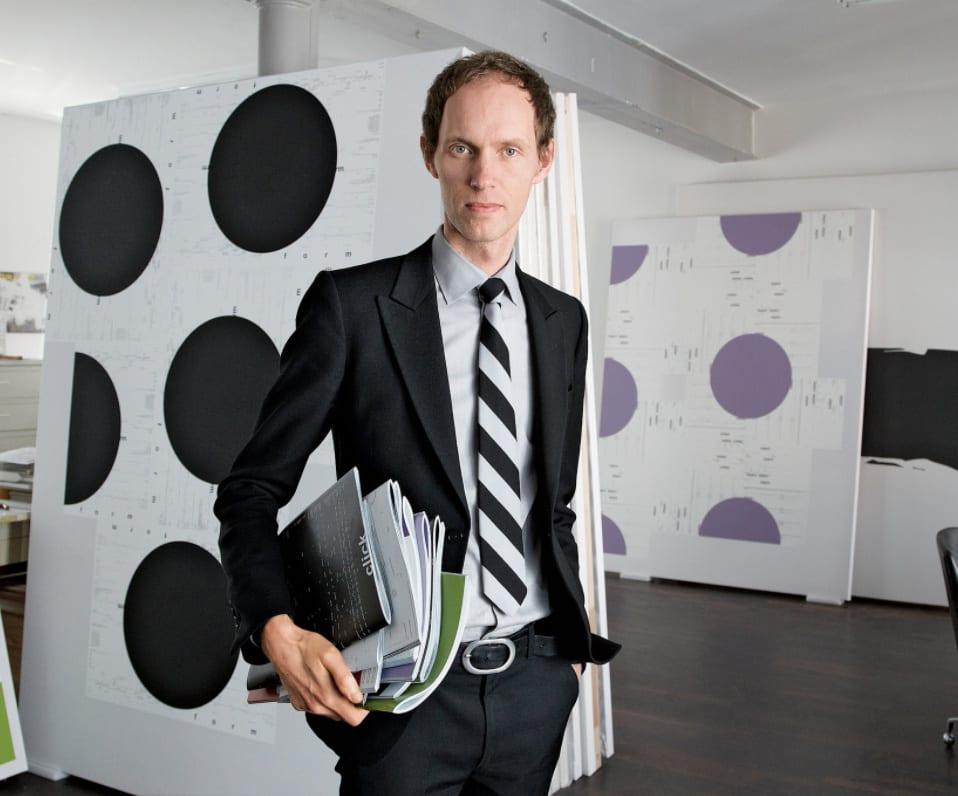 Michael Riedel, in his Frankfurt studio. Credit: Wolfgang Günzel