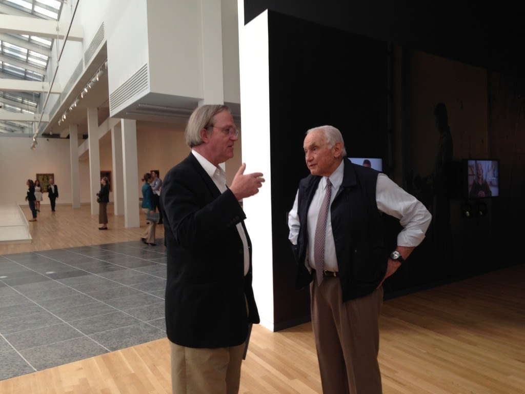"""Les Wexner and curator Robert Storr talk at the opening of """"Transfigurations."""" Credit: Daniel Bendtsen / Asst. arts editor"""