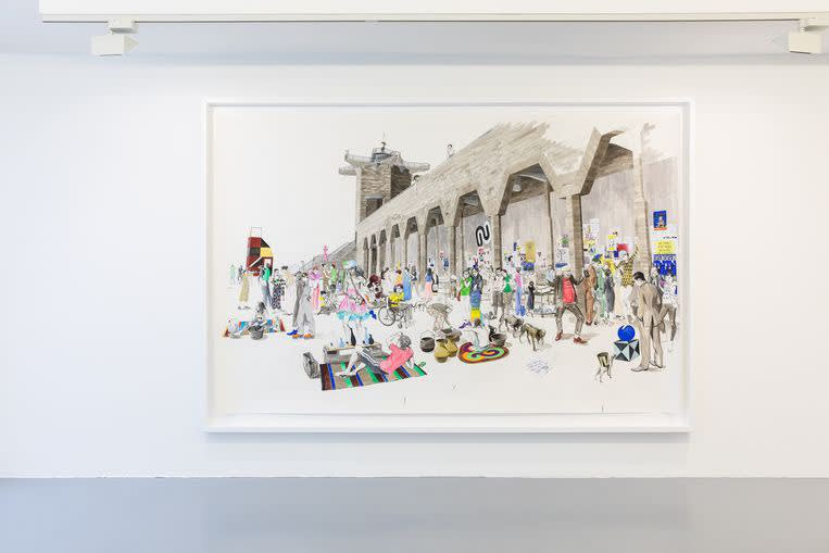 Charles Avery, Untitled (City wall market scene). Beeld Natascha Libbert
