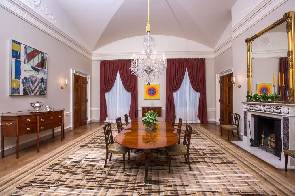 The Old Family Dining Room of the White House, Feb. 9, 2015, featuring abstract artworks by Robert Rauschenberg and Alma Thomas (Official White House Photo by Amanda Lucidon via Whitehouse.gov)