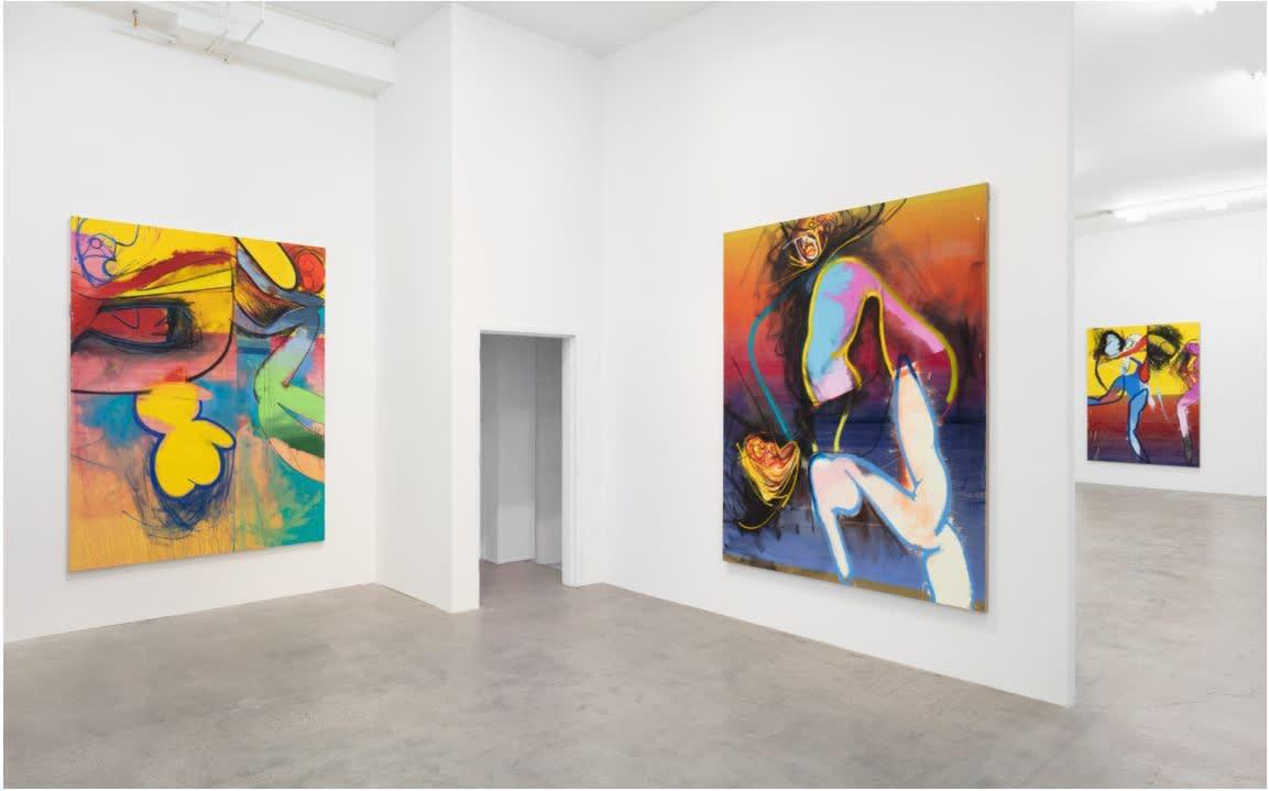 """Daniel Richter, """"pUnser die zukunft,"""" 2019, installation view. Courtesy of GRIMM."""