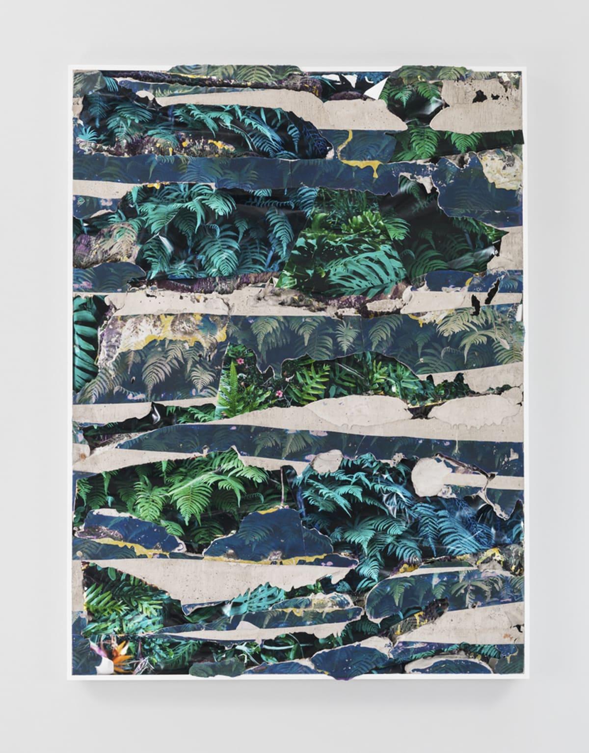 Kauai Green Concrete Bend, 2014 C-prints, emulsion transfer, concrete, aluminum frame 60 1/2 x 45 1/2 x 2 inches Courtesy of Letha Wilson
