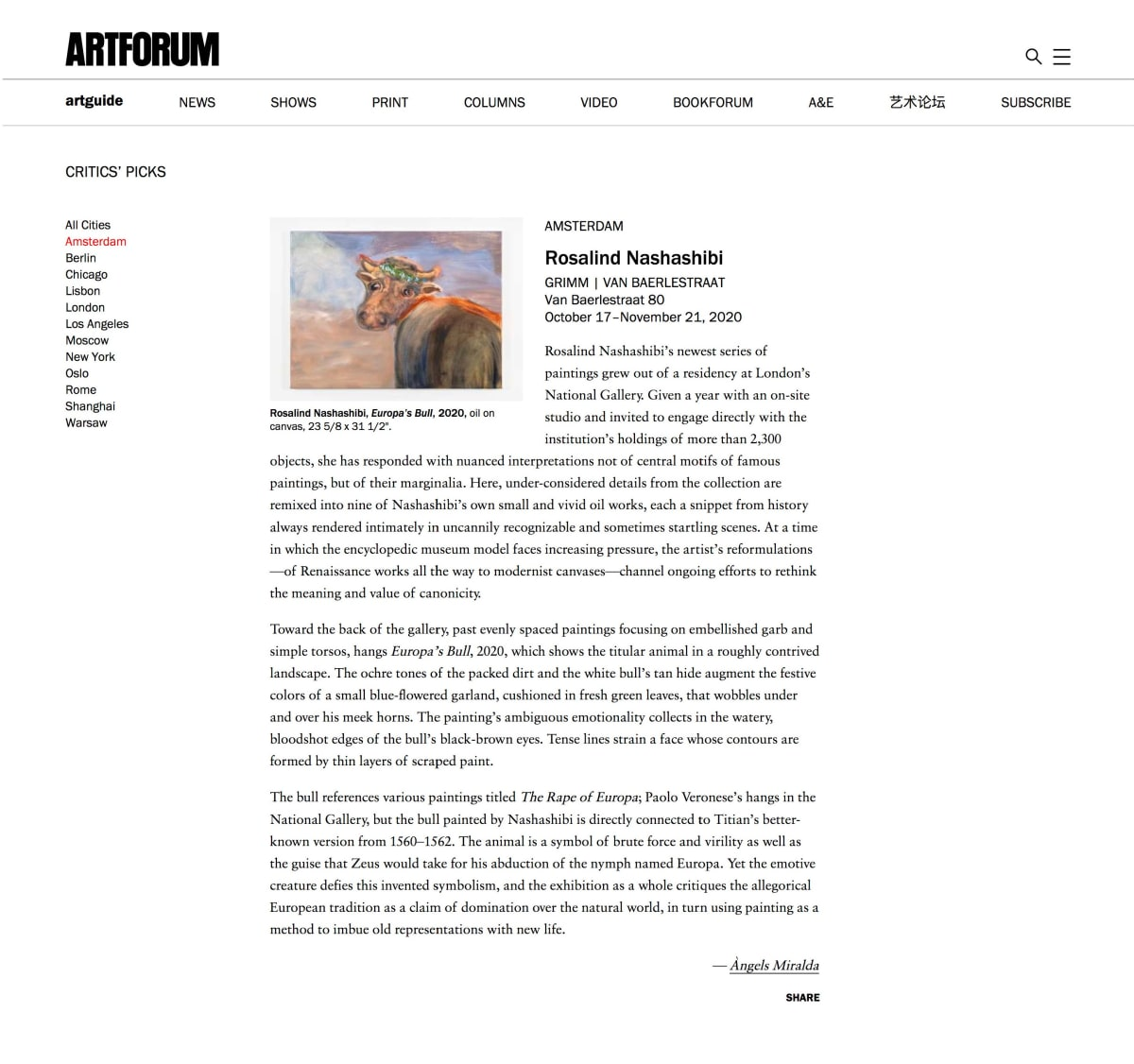 ARTFORUM picks Rosalind Nashashibi