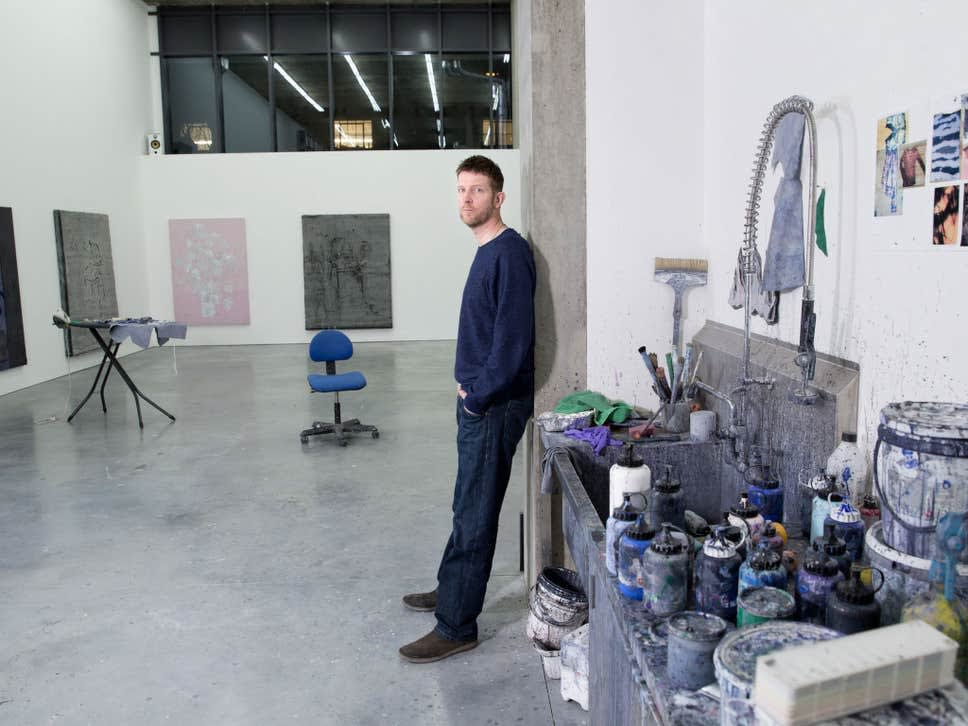 Brush hour: Michael Raedecker's east London studio is filled with domesticity ( Teri Pengilley )