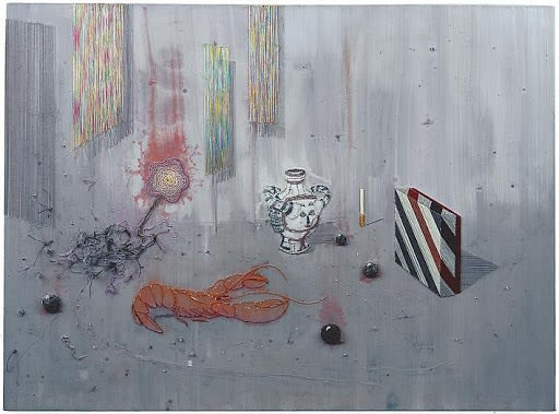 Michael Raedecker, crab walk, 2003, acrylic and thread on canvas, 24 1/2 x 37 3/8 in.