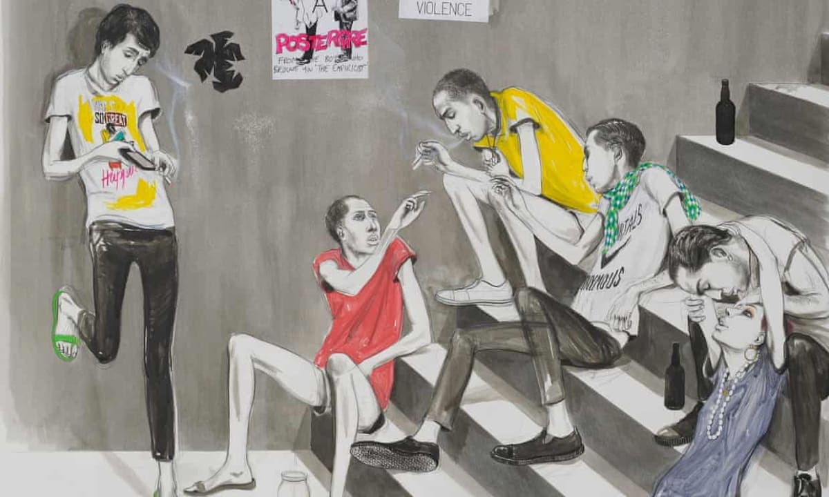 Charles Avery's Untitled (Youths Smoking on Steps), 2014