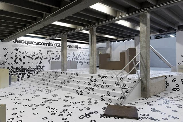 Jacques Comité [Giacometti], An Absolut art bar installation by Michael Riedel, Le Point Perché, Palais de Tokyo July 2013