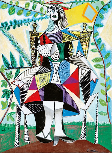 Pablo Picasso Femme assie dans un jardin (Woman seated in a garden), 1938. Oil on canvas. Credit: Courtesy of the Wexner Family.