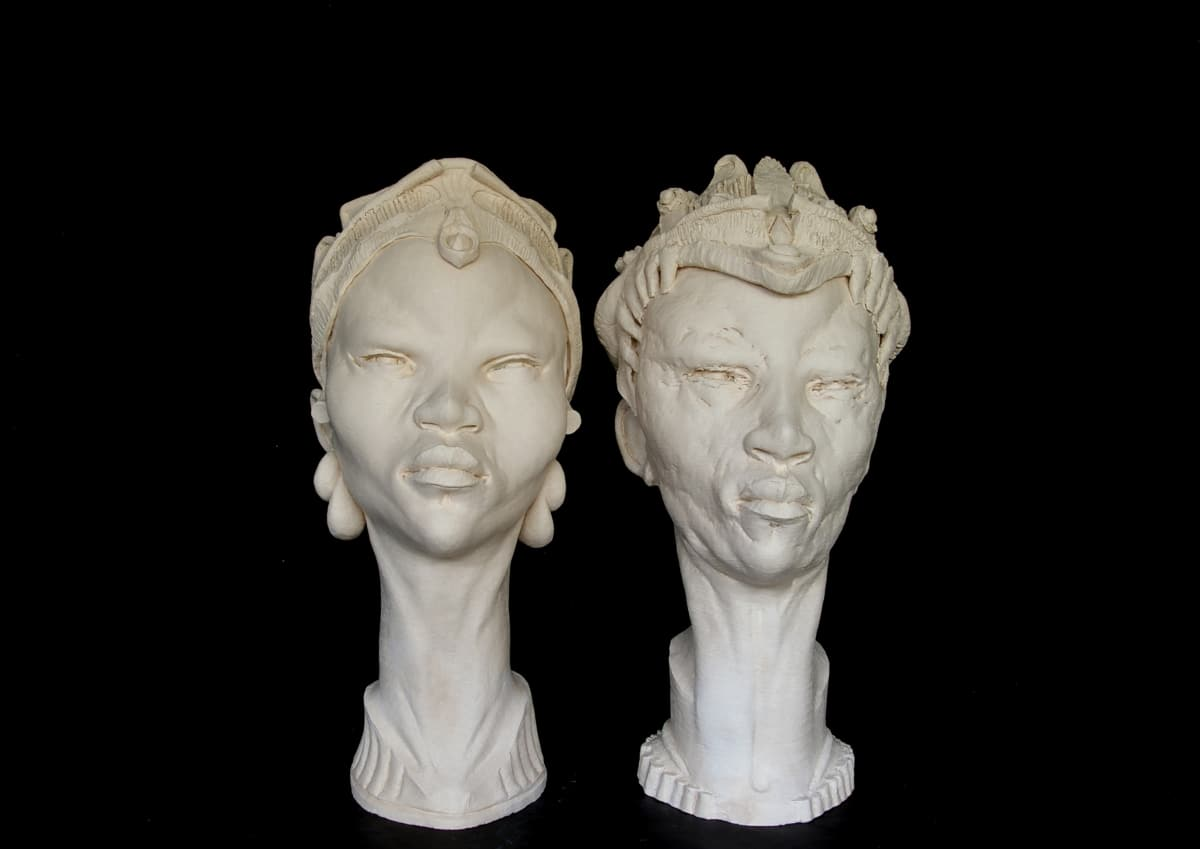 CHUKES King and Queen of America Fired Clay 26 x 12 1/2 x 14