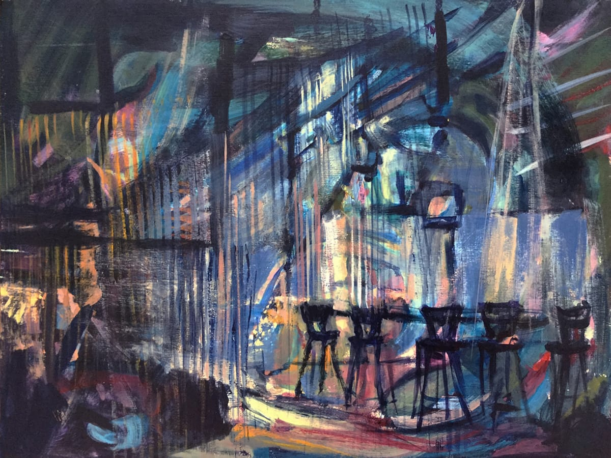 Maria Villages After Midnight #2, 2016, Acrylic on Paper, 23 x 27