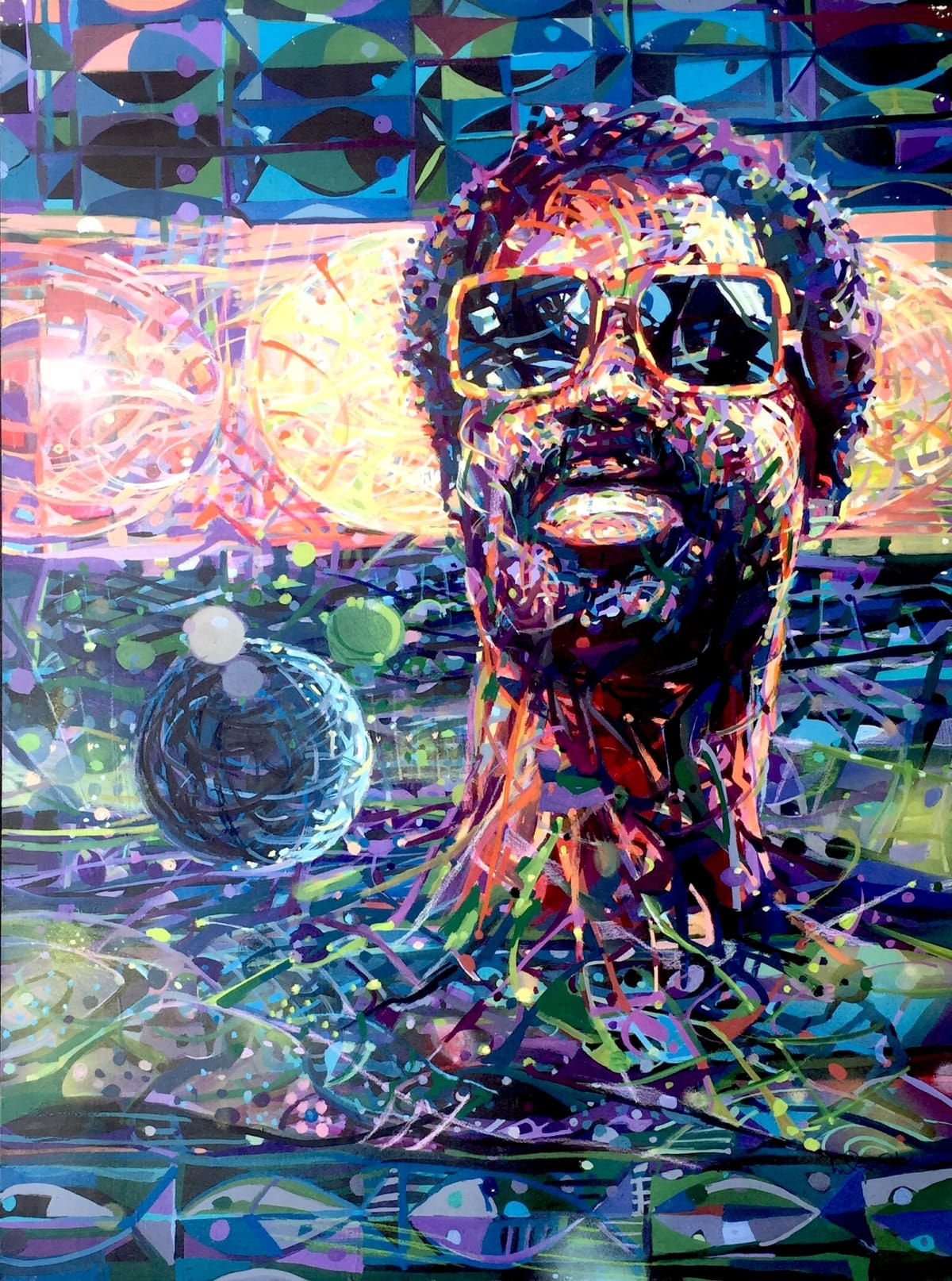 "Nelson Stevens 8th Wonder of the World (Stevie Wonder), 1982 Acrylic on Board 41"" x 31"""