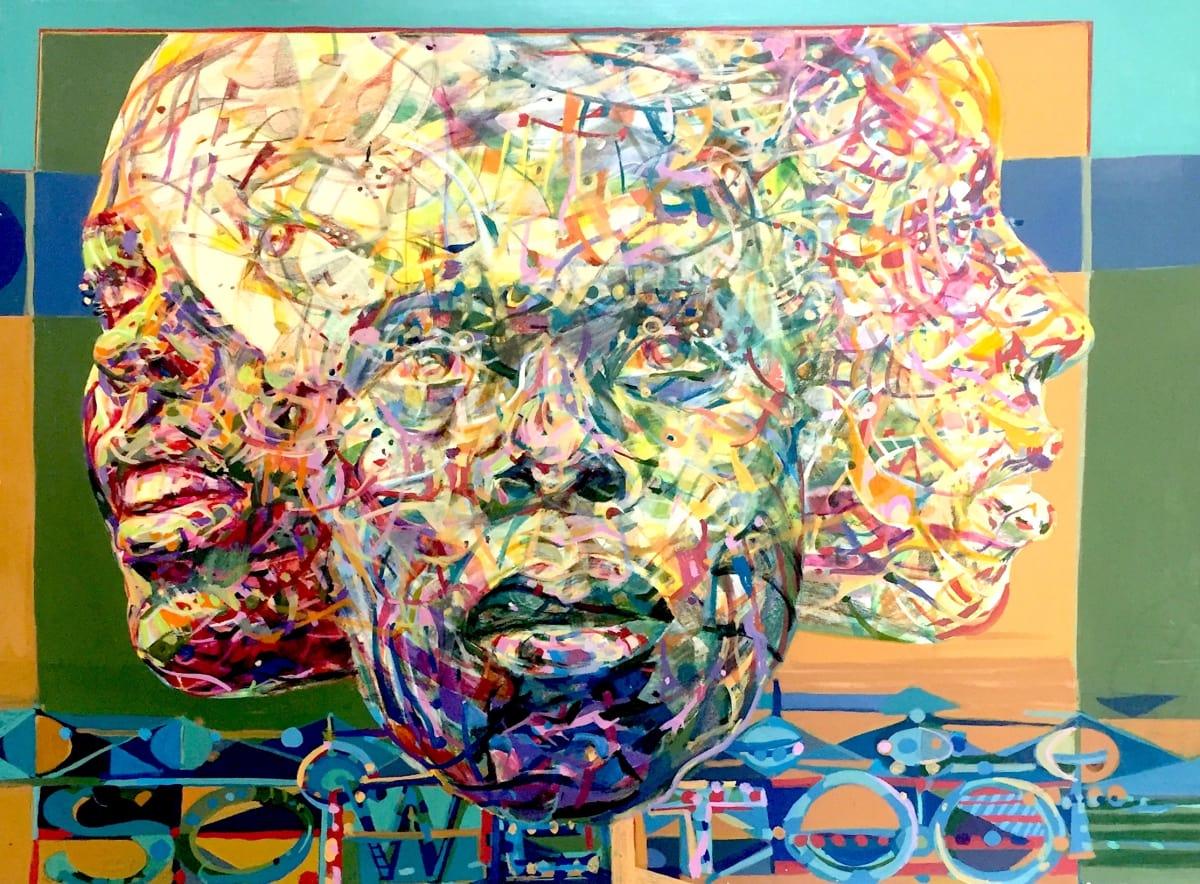 "Nelson Stevens Soweto, 1979 Acrylic 40"" x 30"""
