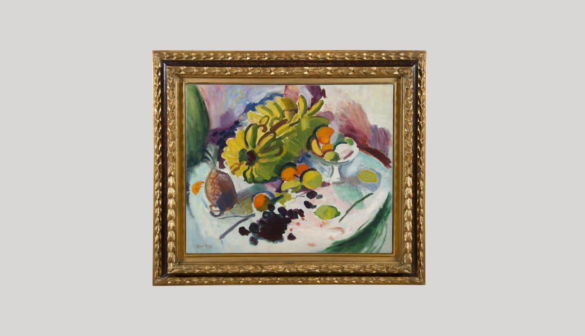 RAOUL DUFY, Compotier, bananes et fruits sur un entablement