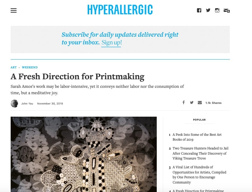 Hyperallergic: A Fresh Direction for Printmaking