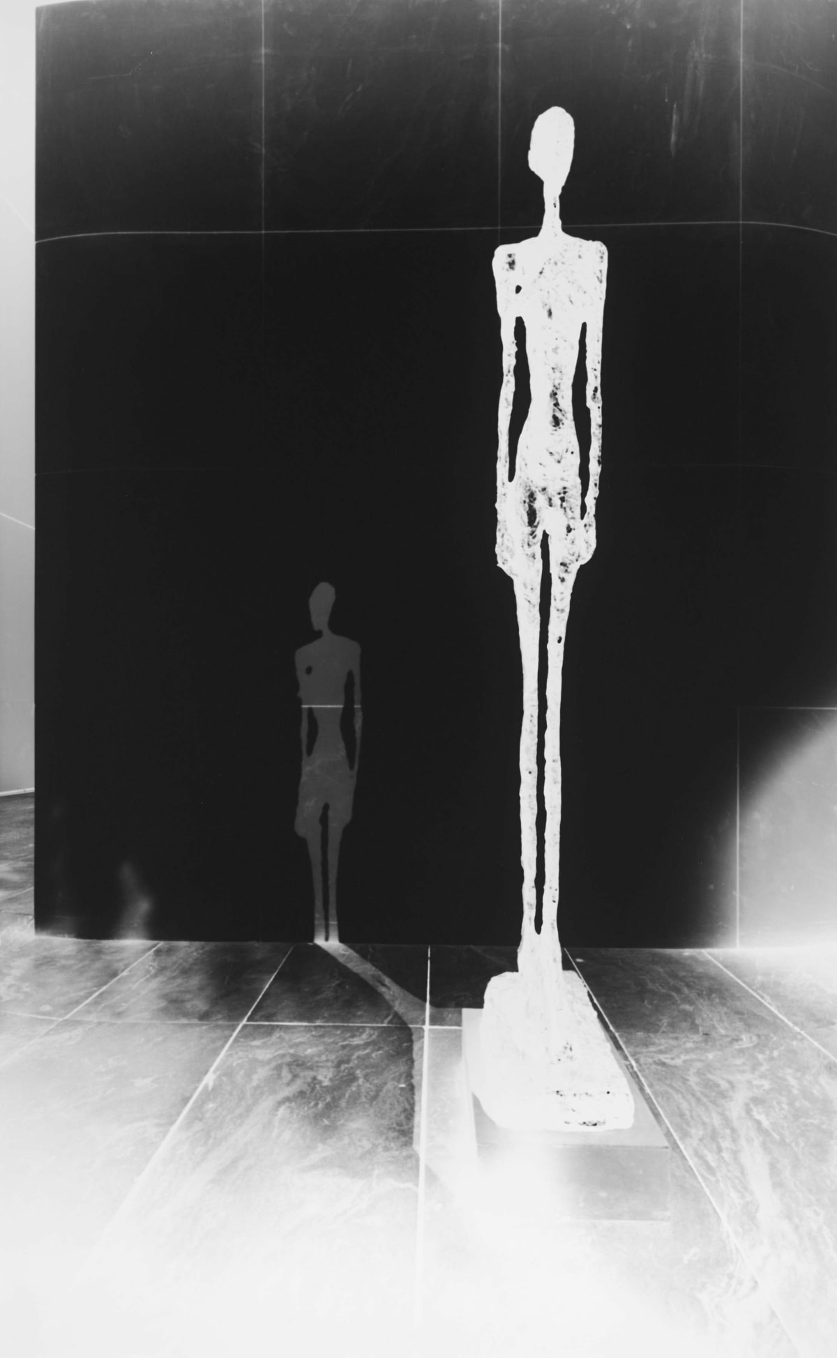 camera obscura image of Giacometti's sculpture of a Tall Figure