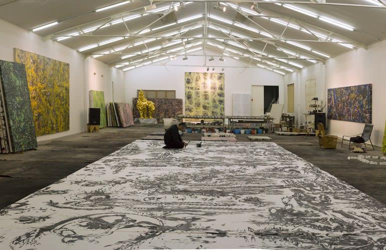 Huang Zhiyang   At work in his Beijing Studio, spring 2014