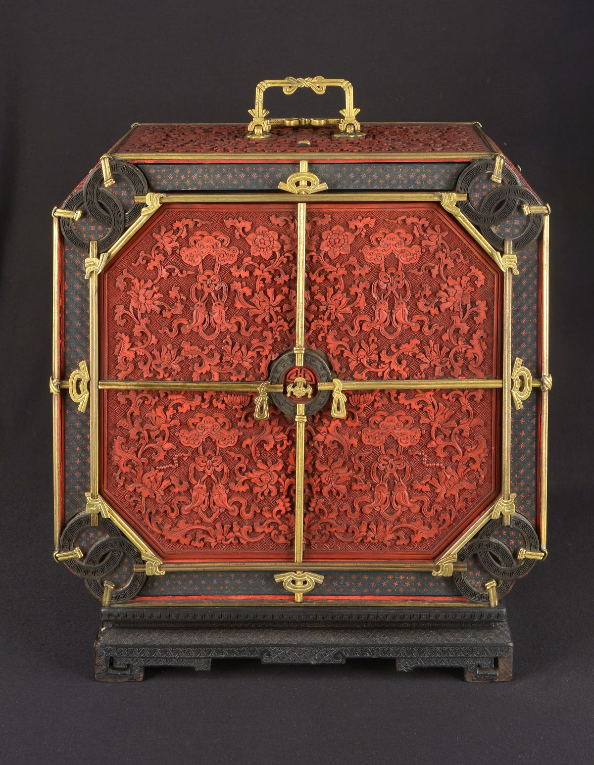 Unknown Artist, Chinese Imperial Red Lacquer Cabinet, Qianlong Period (1736-1759)