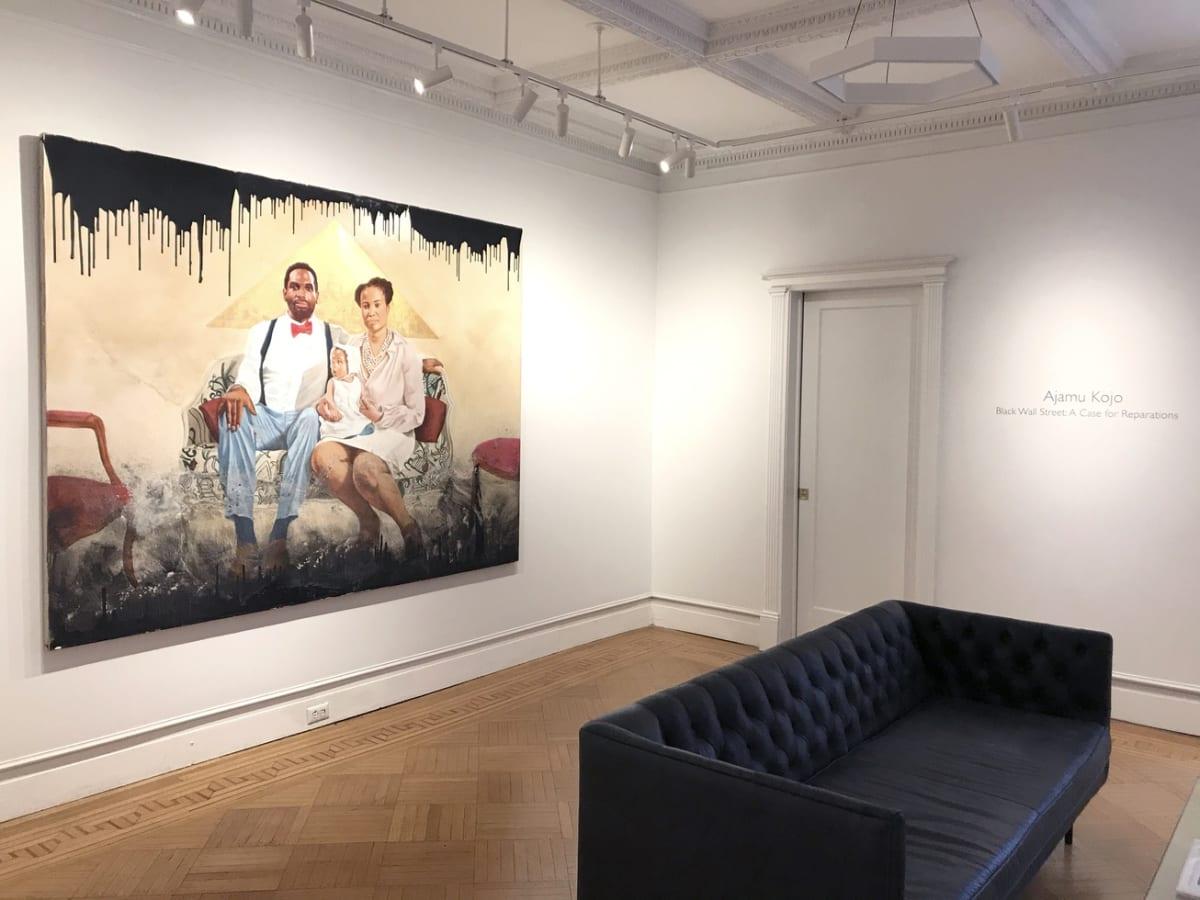 "Installation view of Ajamu Kojo, ""Black Wall Street: The Case for Reparations,"" Jenkins Johnson Gallery, Brooklyn (Feb. 8-22, 2020). | Courtesy Jenkins Johnson"