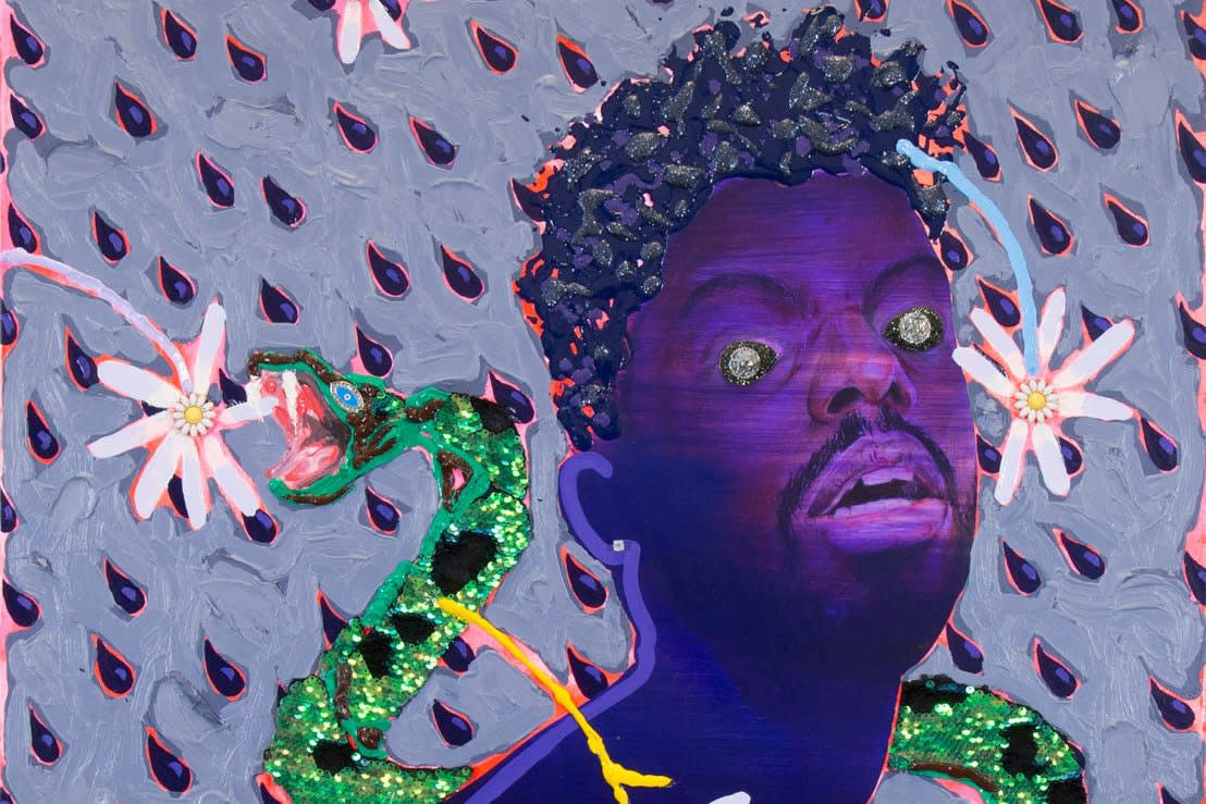 """""""Snake Baby"""" (2016), by Devan Shimoyama, whose solo show at the Andy Warhol Museum opens on Oct. 13.Credit...Devan Shimoyama"""
