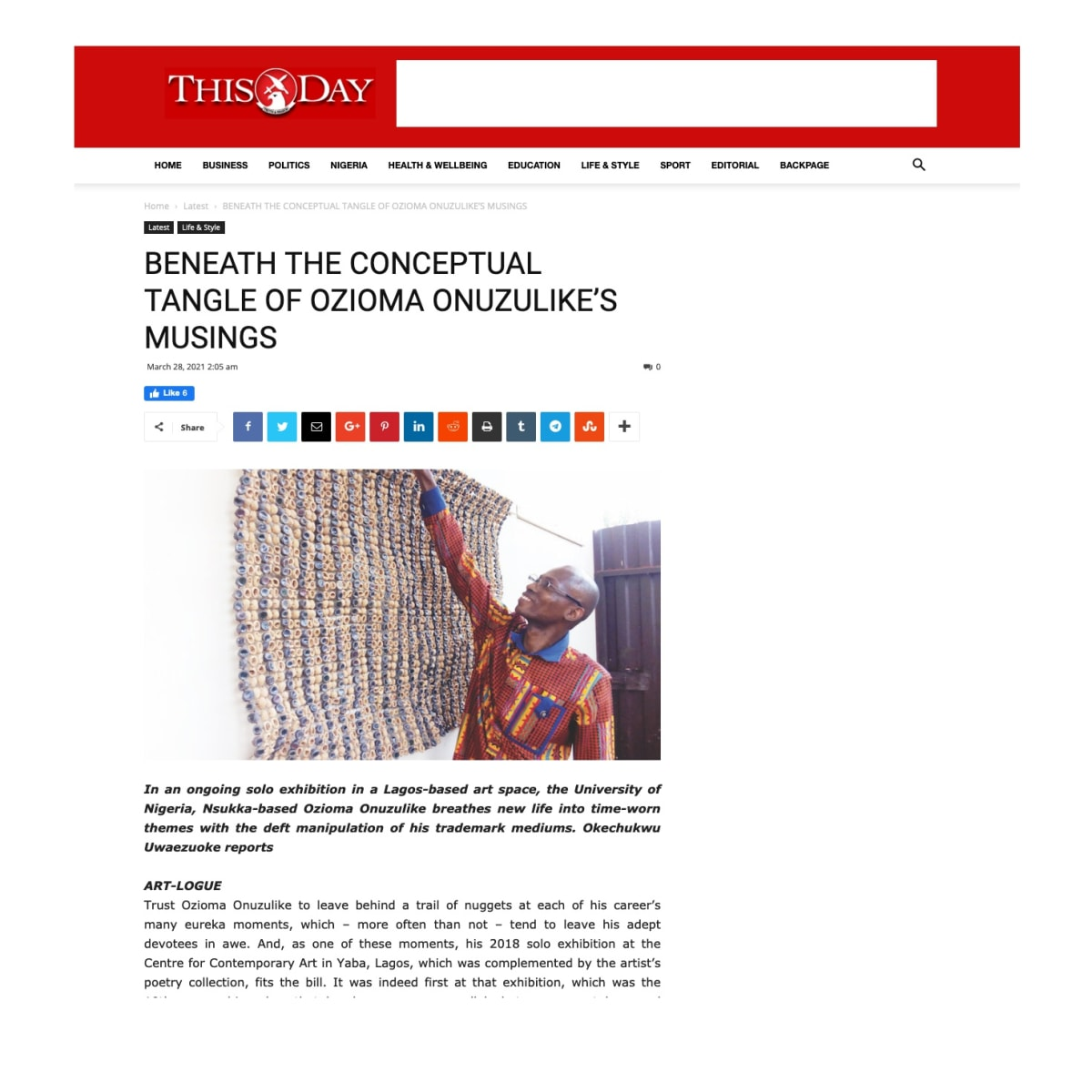 ThisDay: 'Beneath the Conceptual Tangle of Ozioma Onuzulike's Musings'
