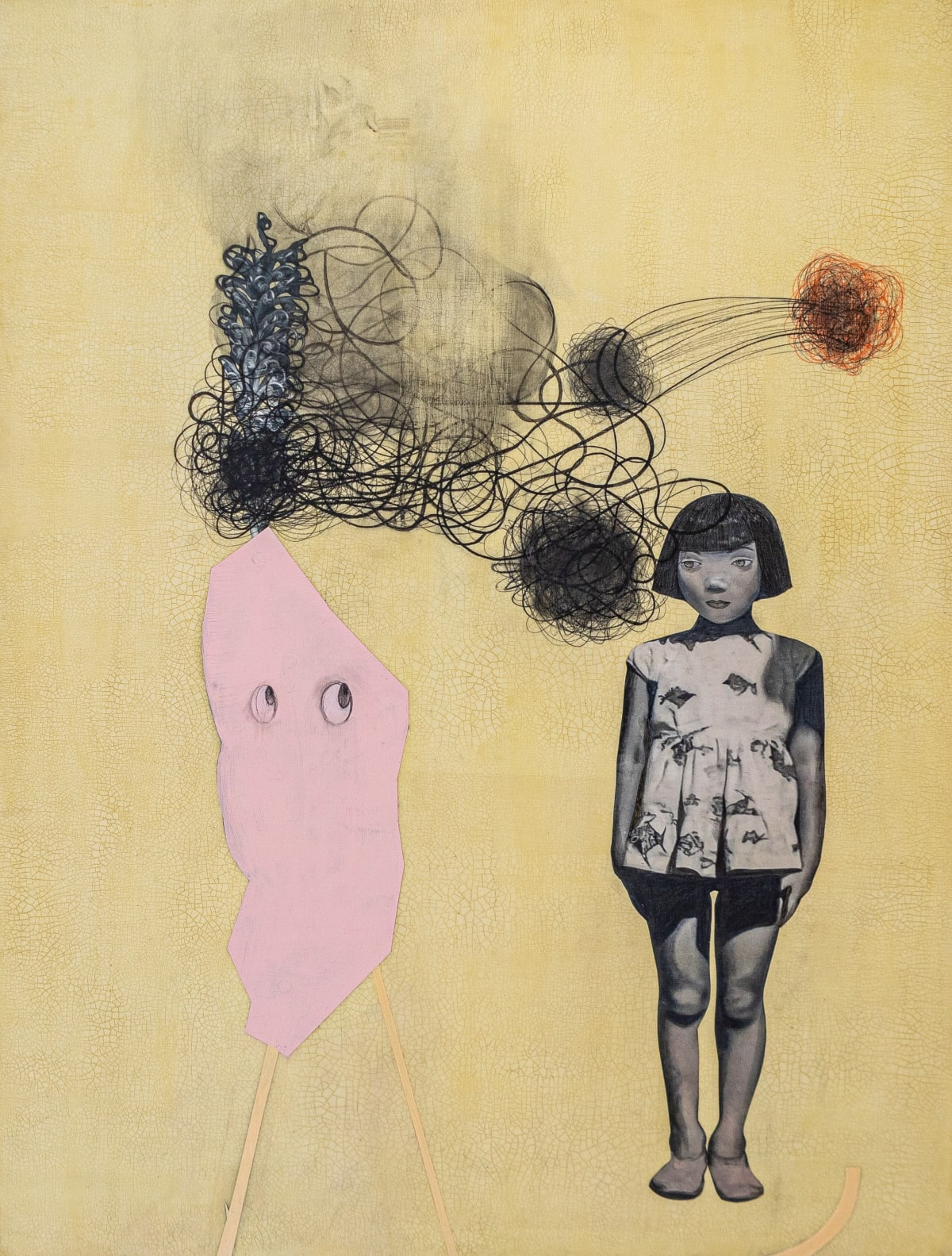 """'Pink Cotton Candy and Peyton' (2020) 50""""x38""""x1.5"""" mixed media. Courtesy of Kaoru Mansour and Launch LA"""