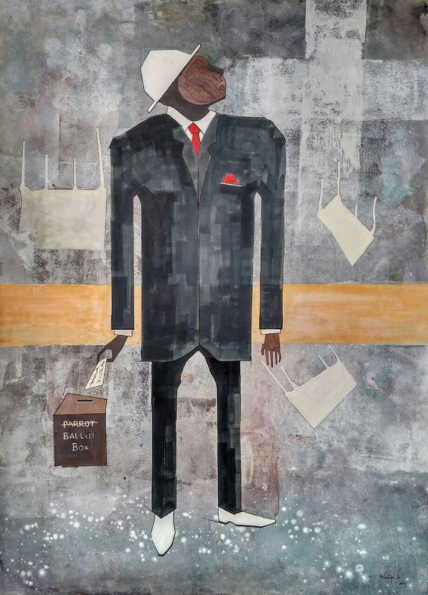 Maina Boniface Kura Ye Mhesimiwa Honorable Note 2017 Ink On Watercolour Paper 74 5 Cm X 54 5 Cm