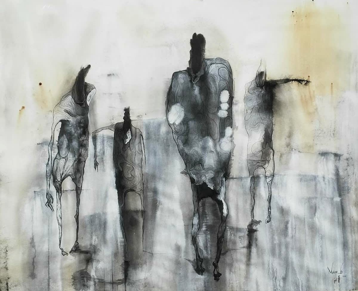 Maina Boniface Mystery Within 2016 Ink Coffee Stain On Paper 111 Cm X 136 Cm