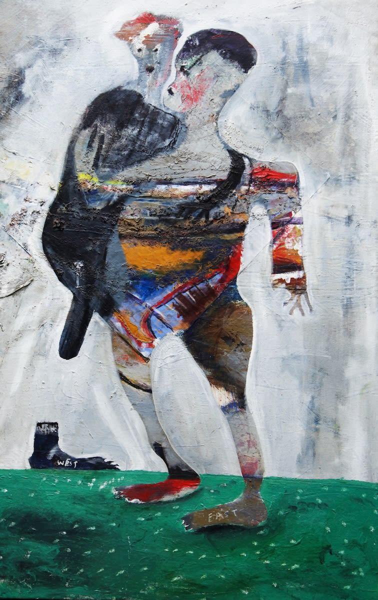 Mwangi Shabu East West Tangle 2016 Oil On Canvas 107 Cm X 68 Cm