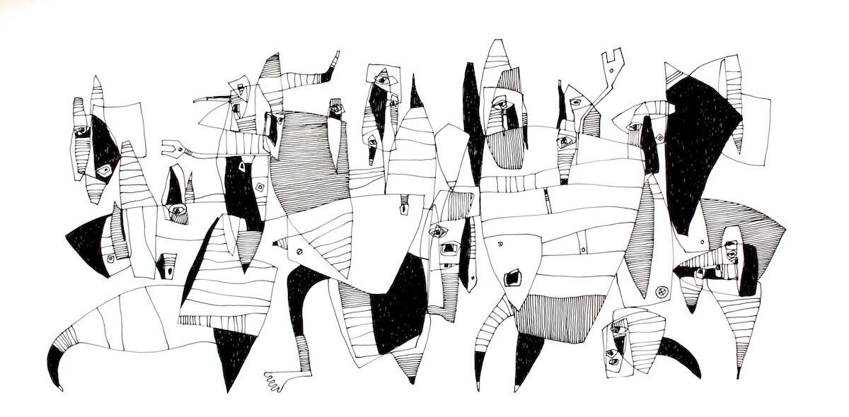 Waswad Transhumanism Series I 2017 Ink On Paper 21 5 Cm X 44 Cm