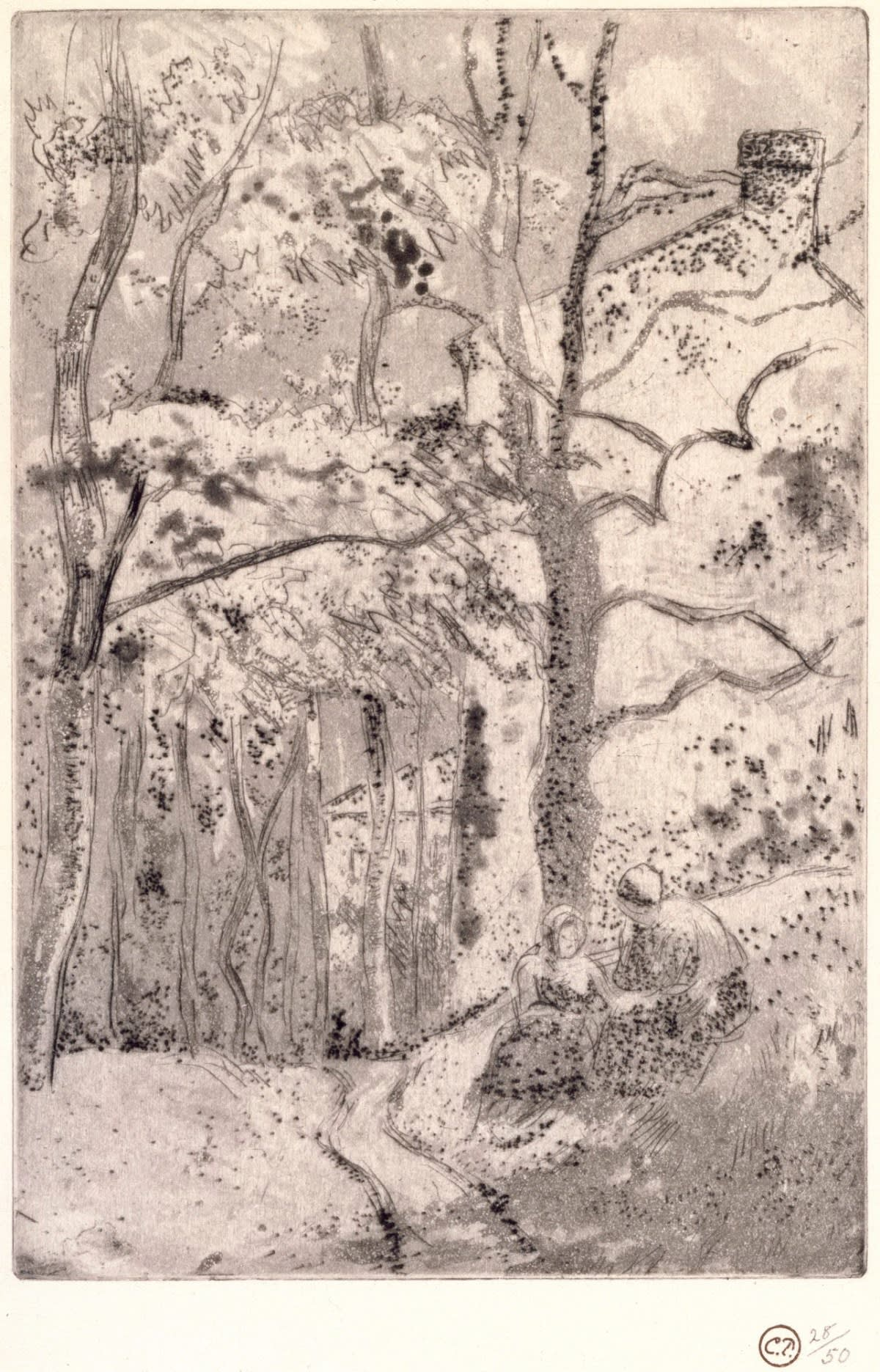 "Camille Pissarro La Maison Rondest, à l""Hermitage, 1882 Etching and Aquatint © Royal Academy of Arts"