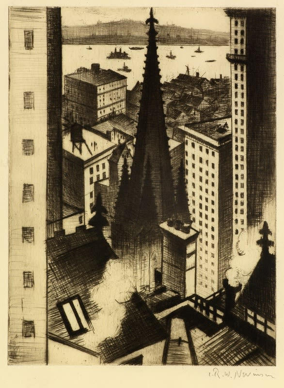 C. R. W. Nevinson, The Temples of New York, 1919 Drypoint