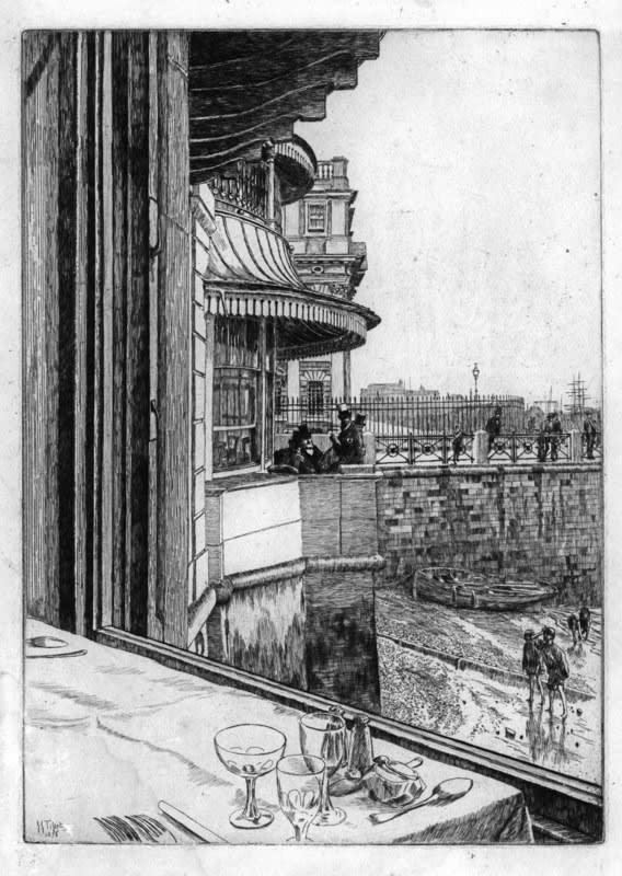 James Tissot, The Trafalgar Tavern, Greenwich, 1878 Drypoint