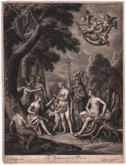 Bernard Lens II, after Sir Peter Lely, The Judgement of Paris Mezzotint