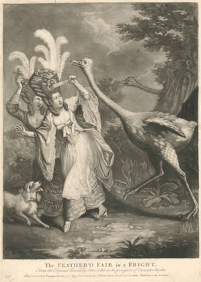 Anon. after John Collett, The Feather'd Fair in a Fright, 1777 Mezzotint