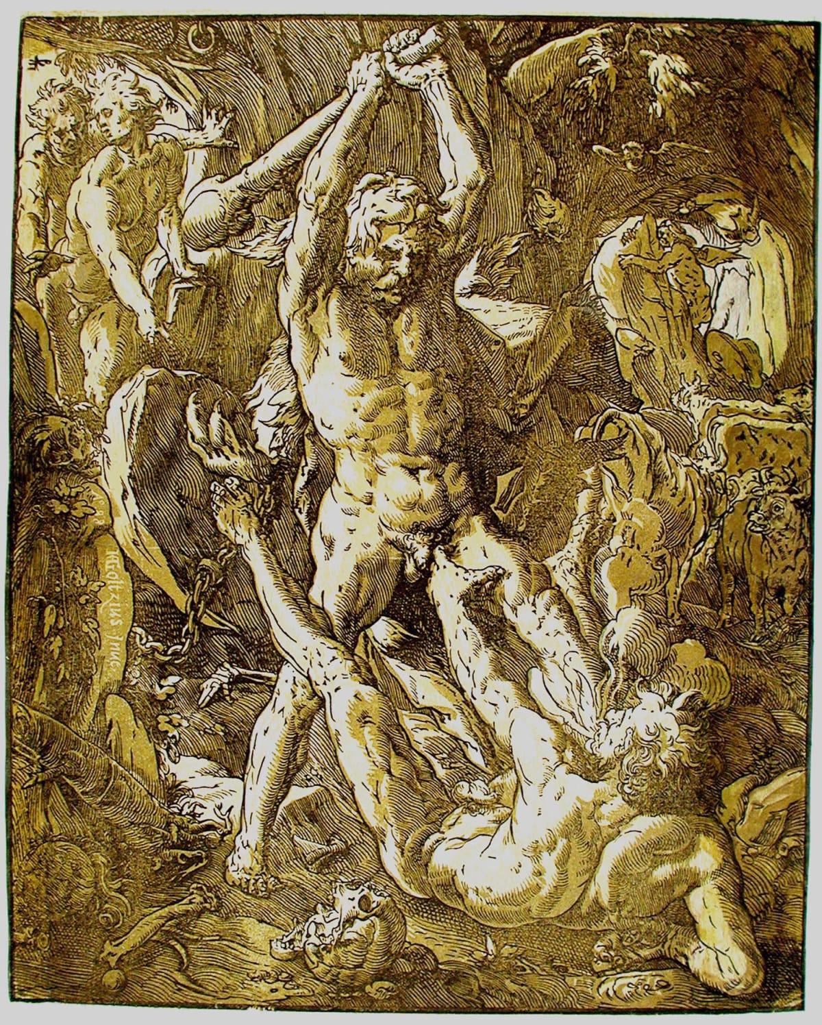 Hendrick Goltzius, Hercules and Cacus, 1588 Chiaroscuro Woodcut