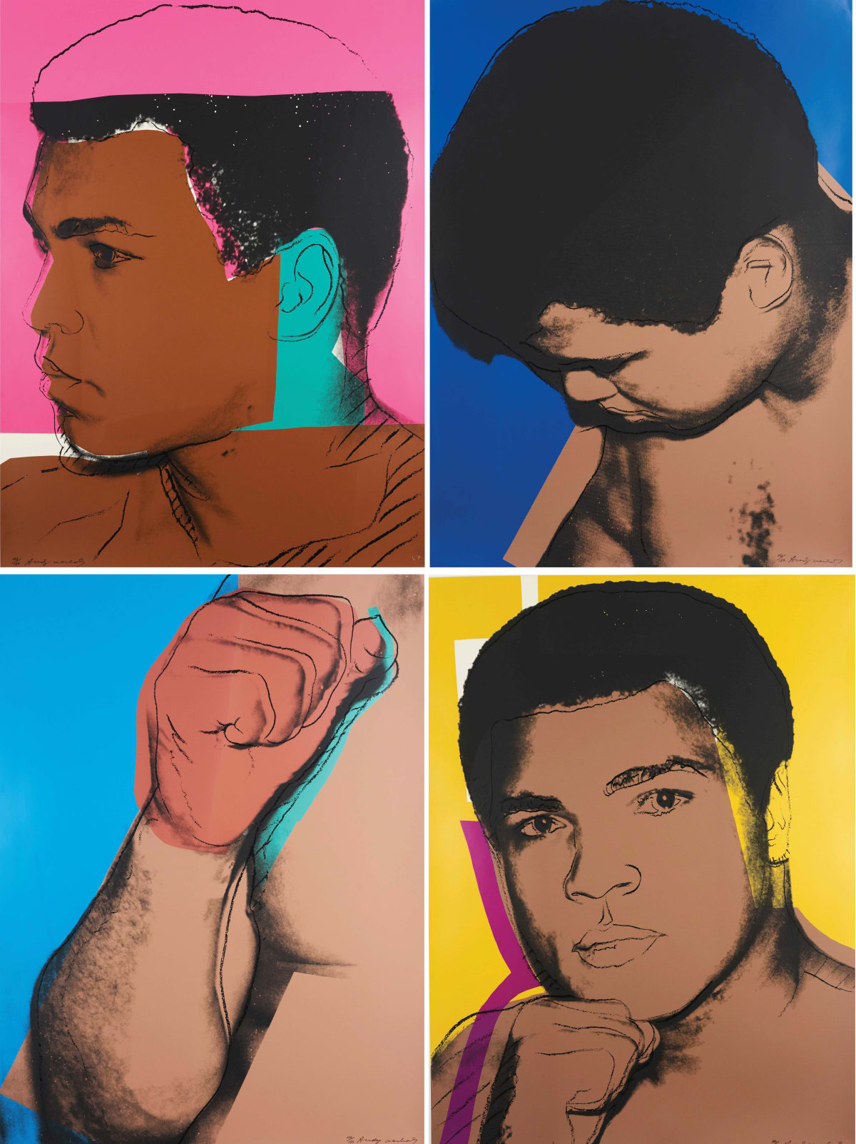 Andy Warhol, Muhammad Ali, 1978 Portfolio of four screenprints on Strathmore Bristol Paper 40 x 30 inches each Edition of 150