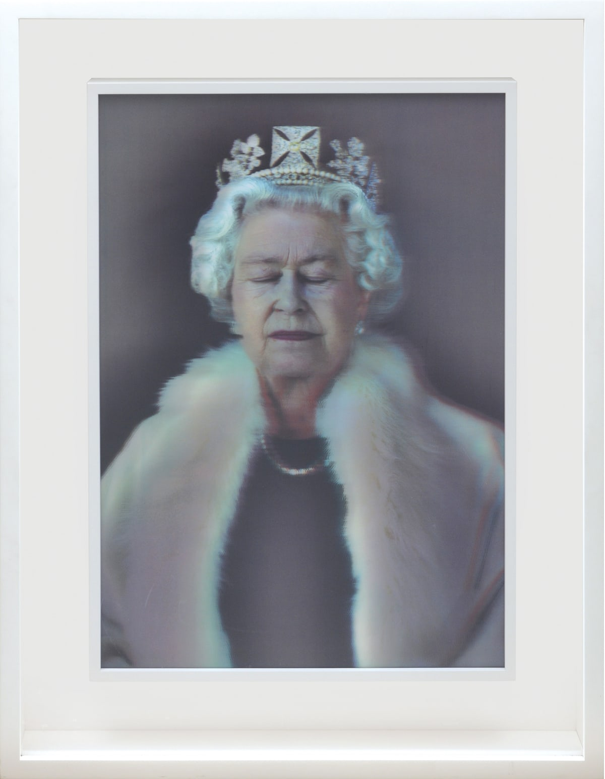 Chris Levine, Lightness of Being [Queen Elizabeth II], 2009 3D Lenticular print 68 x 48.6 cm To create the three-dimensional portrait, Chris Levine took over 10,000 images and 3D data-sets of The Queen during two sittings at Buckingham Palace. The work shows The Queen wearing the Diamond Diadem created for George IV and worn by Her Majesty for the procession to her Coronation in 1953.