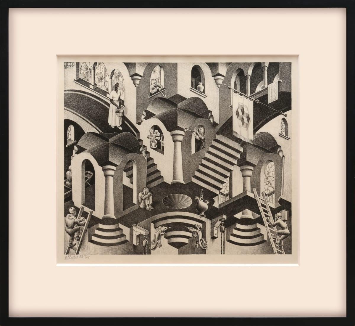 """M. C. Escher, Convex and Concave, 1955 Original lithrograph on woven paper 27.6 x 33.1 cm Edition of 57 Convex and Concave is concerned with the widely known phenomenon of spatial suggestion which can be imagined as convex or concave, as desired. In the middle of the picture Escher draws the shapes in such a way that the observer may just as well see them convex as concave; to the right he forces you to see things in a convex way (e.g. """"cube from the outside""""); to the left, you have to view things in a concave way (""""cube from the inside"""")."""