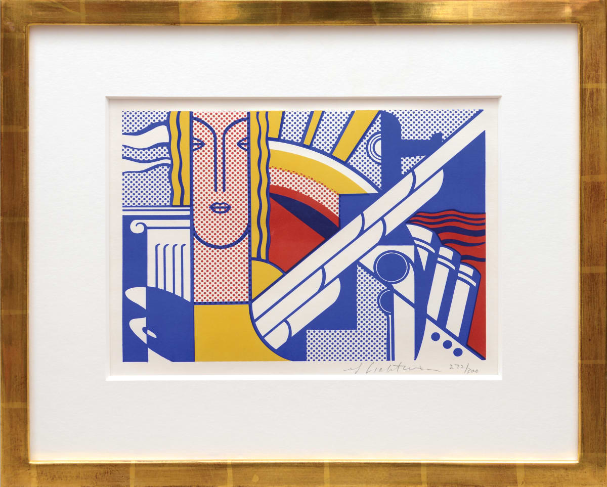 Roy Lichtenstein, Modern Art Poster, 1967 3 colour screenprint on ivory wove paper 22.9 x 30.3 cm Edition of 300 This image was used as an announcement card for the exhibition, Roy Lichtenstein: Painting and Sculpture at Leo Castelli Gallery, October 28 - November 18, 1967.
