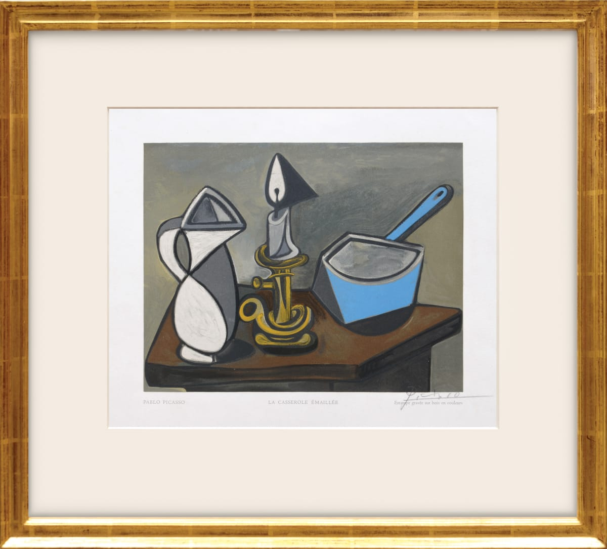 Pablo Picasso, La Casserole émaillée. (The enameled casserole), 1950 Wood engraving in colours on Van Gelder Zonen paper 23.3 x 29.7 cm Edition of 150 One of 12 prints by various artists from the Estampes portfolio by Robert Rey.