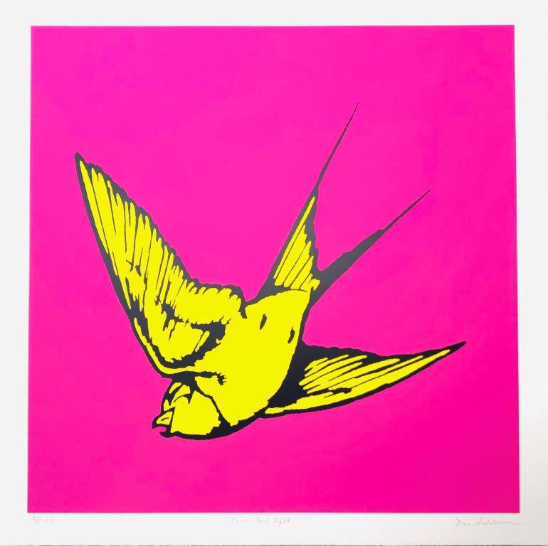 Dan Baldwin, Love and Light - Pink and Yellow, 2019 Silkscreen Print 90 x 90 cm Edition of 50