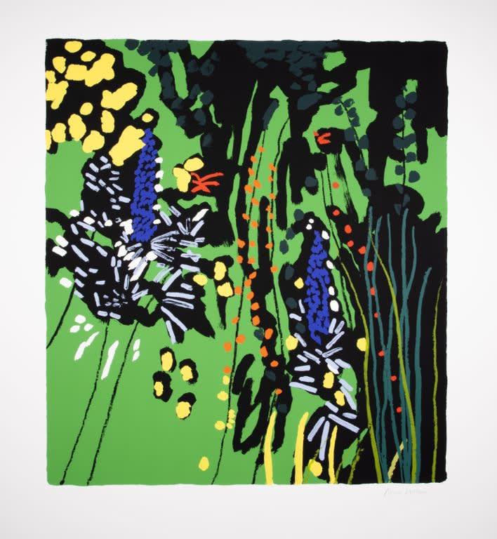 Bruce McLean, Green Garden with Unknown Flower, 2019 Silkscreen Print 105 x 116 cm Edition of 75