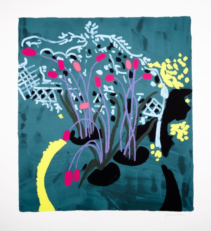 Bruce McLean, Light Blue Garden with Violet Stalks, 2019 Silkscreen Print 106 x 116 cm Edition of 75