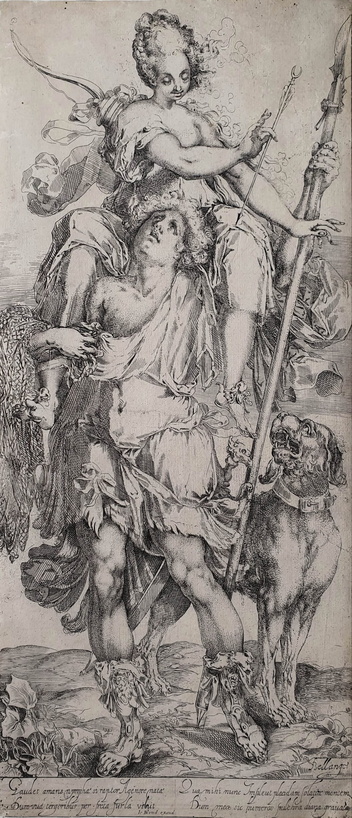 Jacques Bellange, Diana and Orion, 1595/1616 Etching and engraving 47 x 20.5 cm Walch 10, 3rd state (of 3), with 'Le Blond excud' added below the verses. Very rare.