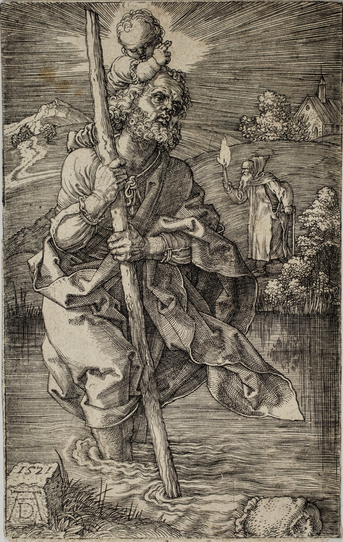 Albrecht Dürer, Saint Christopher facing right, 1521 Engraving 11.7 x 7.7 cm Meder 52 b/d before the scratches on the Child's fingers and in the light.