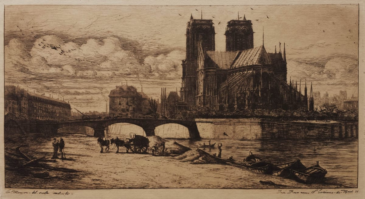 Charles Meryon, The Apse of Notre-Dame de Paris, 1854 Etching and drypoint 15 x 28.9 cm Schneiderman 45, IV/IX, before the date was erased and the houses burnished at right. A superb and rare impression printed in dark brown ink on thick ivory laid paper with watermark (shild and date 1852).