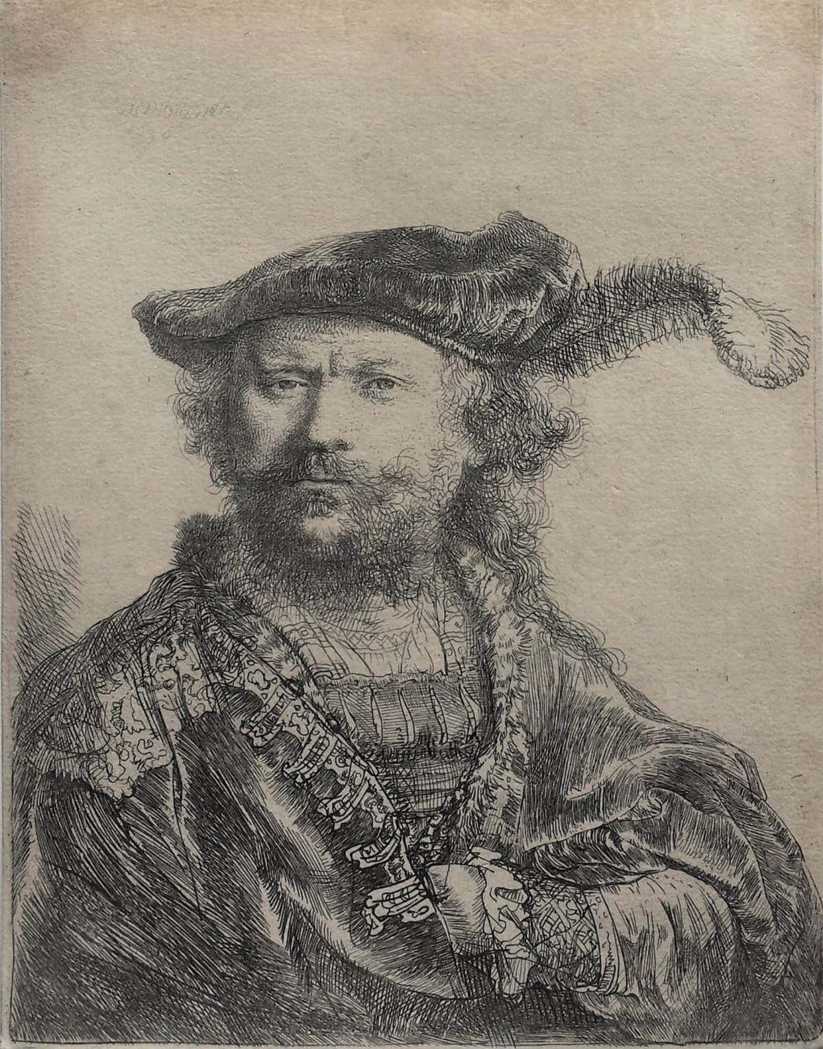 Rembrandt Hamensz. Van Rijn, Self-portrait in a velvet cap with plume, 1638 Etching 13.4 x 10.3 cm New Hollstein 170, 2nd state (of 4), with the jaw under the left ear clearly delineated but before the posthumous rework. Watermark: Arms of Bristol A.a