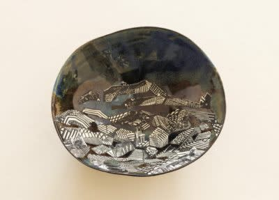 Anne Desmet, Greek Island VI, 2019 Wood engravings on paper collaged on glazed ceramic bowl 10 x 11.6 x 4 cm