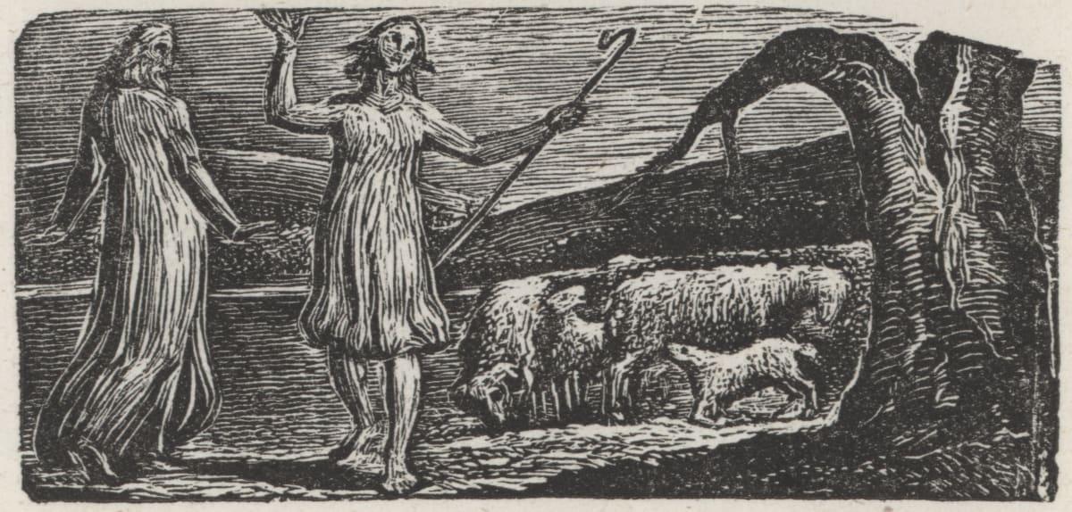 William Blake, Colinet departs in Sorrow, 1821 Wood Engraving