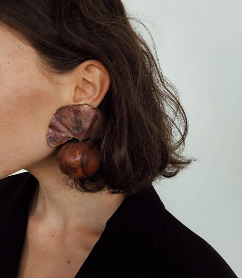 Claude Lalanne, Little Apple Earrings, 2017, galvanised copper with clips on reverse, unique, image courtesy of Louisa Guinness Gallery